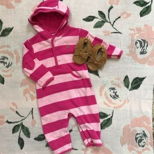 Baby Gap Bow Moccasins & Hooded Romper